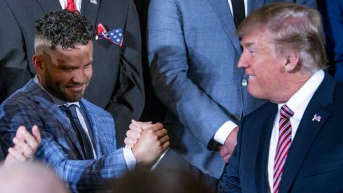 José Altuve recibido y alagado por el presidente Donald Trump