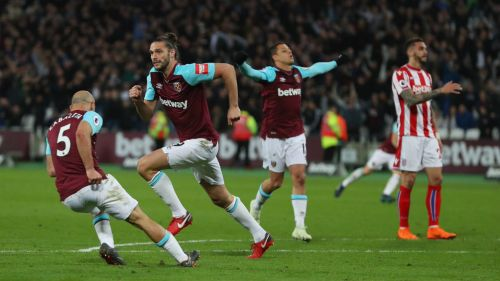 West Ham en festejo tras anotar frente al Stoke City