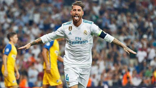 Ramos festeja un tanto con el Real Madrid