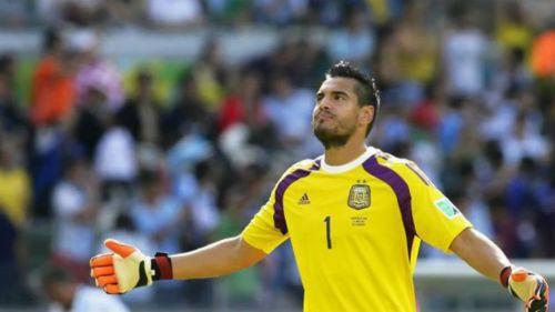 Romero en un partido de Argentina