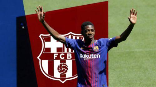 Dembélé en su presentación oficial con el Barcelona