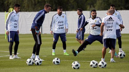 Selección de Argentina, durante un entrenamiento en Rusia
