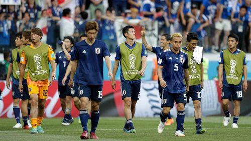 Jugadores de Japón, tras el partido contra Polonia