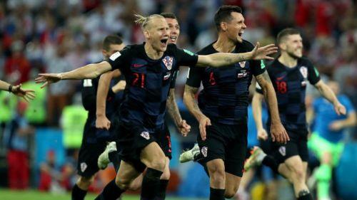 Jugadores de Croacia festejan el pase a Semifinales de Rusia 2018