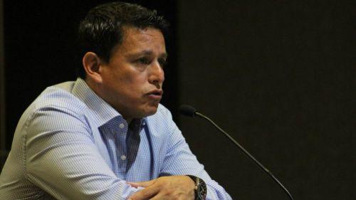 Salvado Reyes en conferencia de prensa con Santos