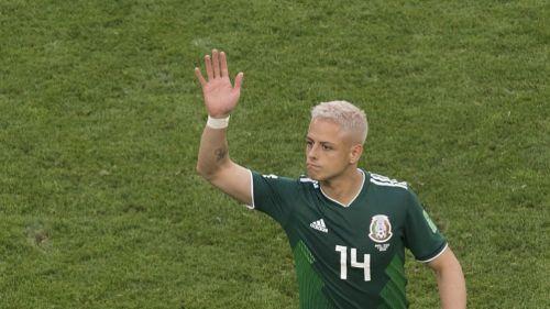 Chicharito Hernández en un partido del Mundial