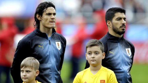 Cavani y Suárez durante un partido con Uruguay