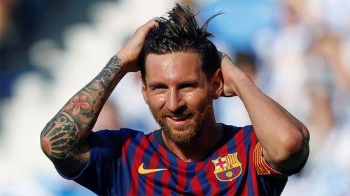 Messi en partido con el Barcelona