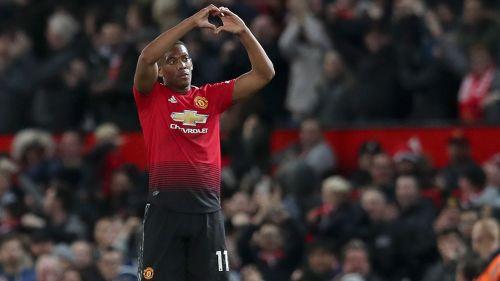 Anthony Martial celebra su gol contra el Newcastle