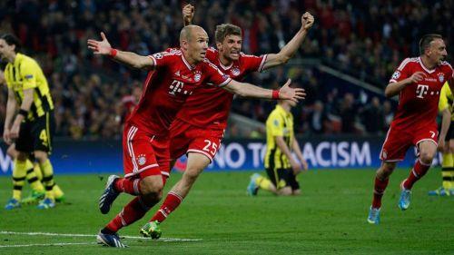 Robben celebra el gol que le dio la Champions al Bayern Munich