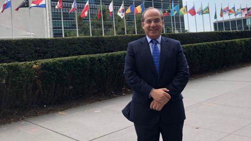 Felipe Calderón, a la afueras de sede de la ONU