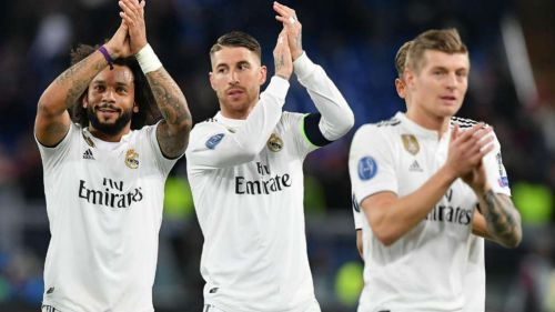 Marcelo, Sergio Ramos y Toni Kroos celebran un triunfo