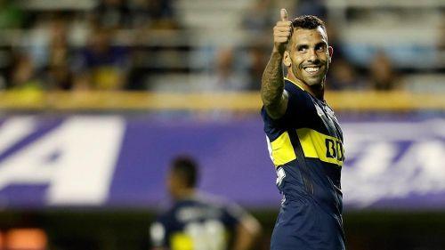 Carlos Tévez en un partido con Boca Juniors