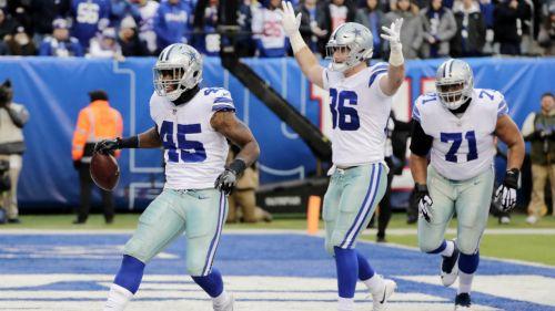 Cowboys celebra luego de una anotación ante Giants