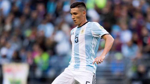 Kranevitter en un partido con la Selección de Argentina