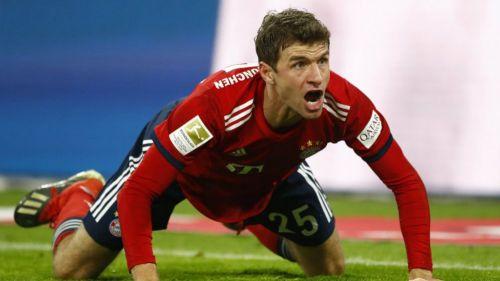 Thomas Müller lanza un grito en un juego del Bayern