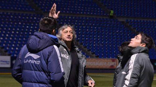 Scoponi antes del partido entre Puebla y Santos
