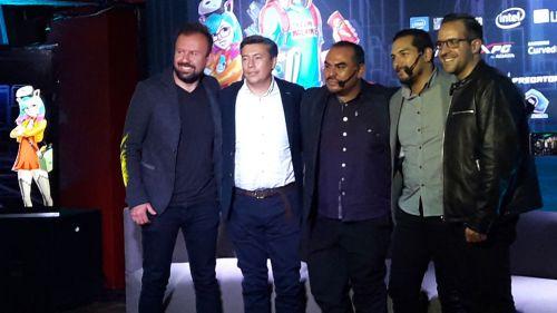 Adriel Mercado (segundo de izquierda a derecha), durante la presentación de Games Celebration 2018