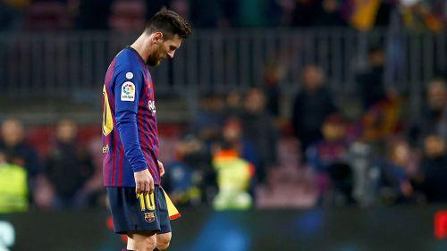Messi, en un partido con el Barcelona