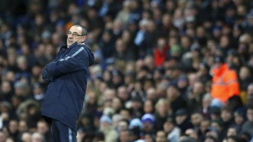 Maurizio Sarri durante el partido contra el Man City