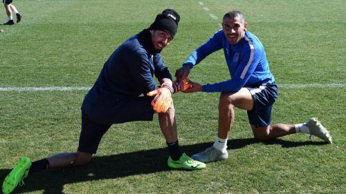Díaz, durante un entrenamiento con el Fuenlabrada