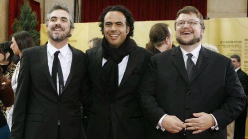 Cuarón, Iñarritú y Del Toro durante una entrega de premios