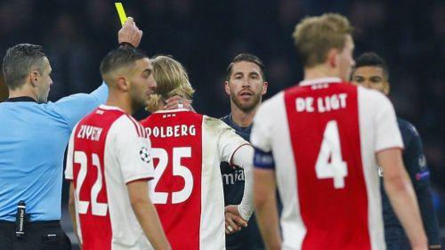 Sergio Ramos recibe tarjeta amarilla contra Ajax