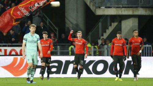 Rennes celebra anotación frente al Arsenal