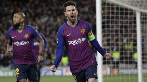 Messi celebra anotación con el Barcelona