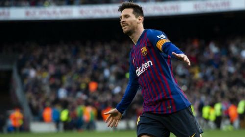 Messi festeja gol con el Barcelona