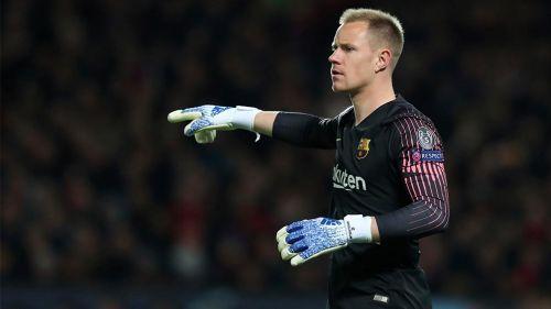 Ter Stegen durante el partido del Barcelona vs Manchester United
