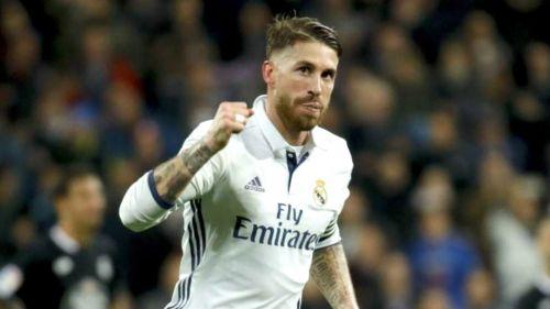 Sergio Ramos celebra una anotación con el Real Madrid