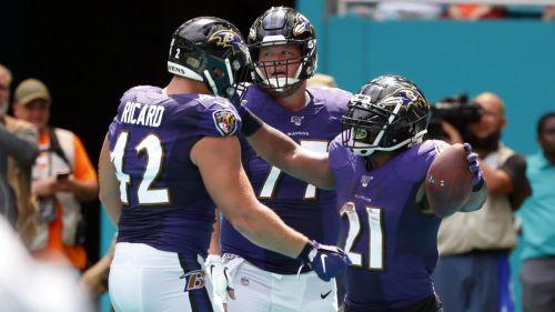 Ravens celebra luego de anotar un touchdown