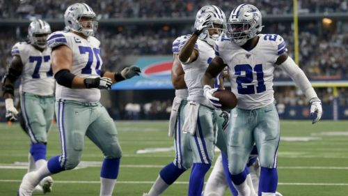 Ezequiel Elliott celebra un touchdown ante Giants