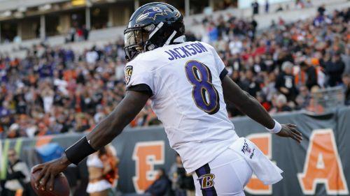 Lamar Jackson en partido de Ravens vs Bengals