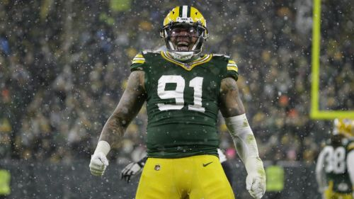 Preston Smith,  en festejo de los Packers de Green Bay