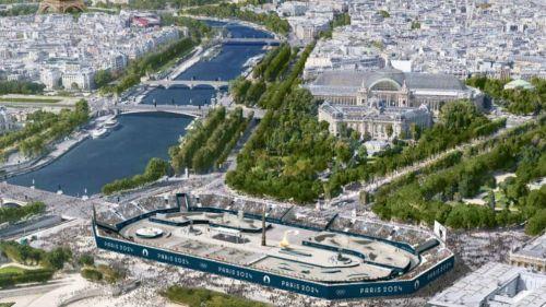 El estadio de deportes urbanos en medio de París
