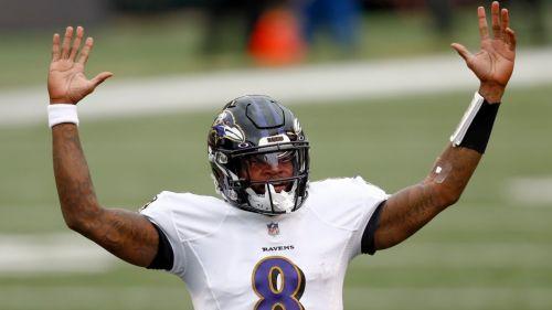 Lamar Jackson festeja un touchdown