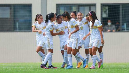 Tigres Femenil en festejo de gol