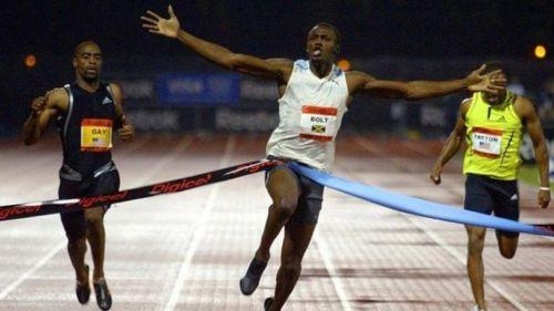 Usain Bolt durante una carrera