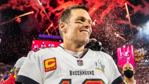 Tom Brady con los Buccaneers durante Super Bowl