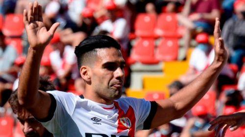 Radamel Falcao tras anotar gol con el Rayo Vallecano