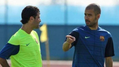 Márquez junto a Guardiola, en un entrenamiento