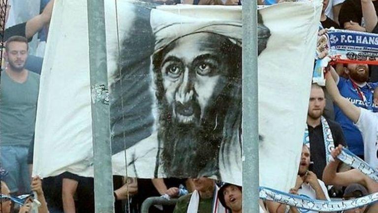 Manta de Bin Laden en mostrada por los ultras del Hansa Rostock