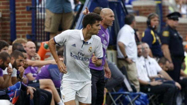 Enzo Zidane, durante un partido de pretemporada con el Madrid