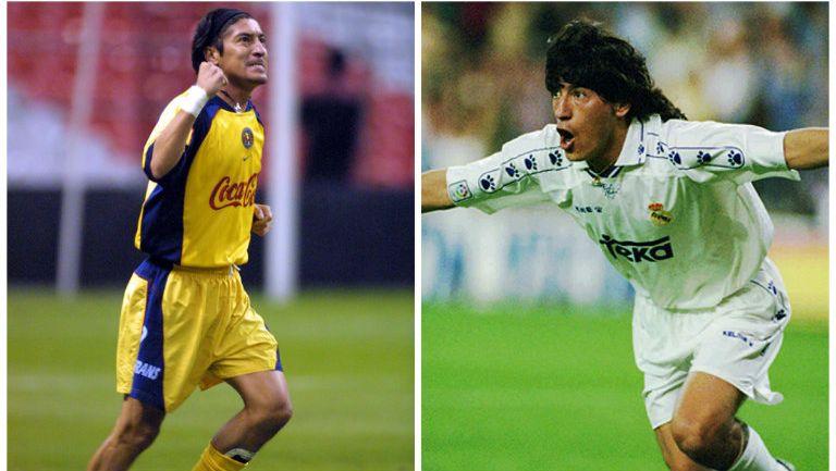 Iván Zamorano festeja goles con América y Real Madrid