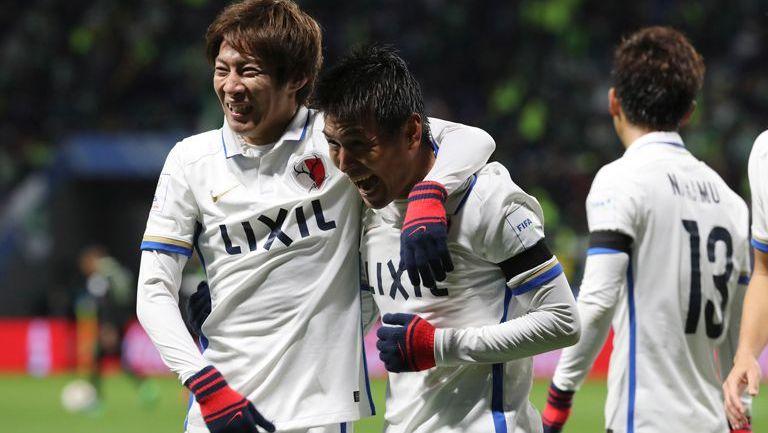 Yasushi Endo celebra su gol contra Atlético Nacional