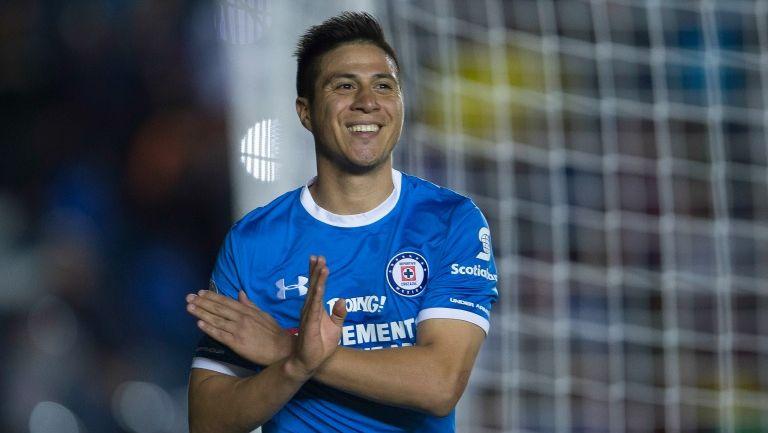 Churry Cristaldo celebra un gol de La Máquina