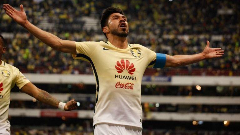 Oribe celebra su gol frente a Cruz Azul en el C2017