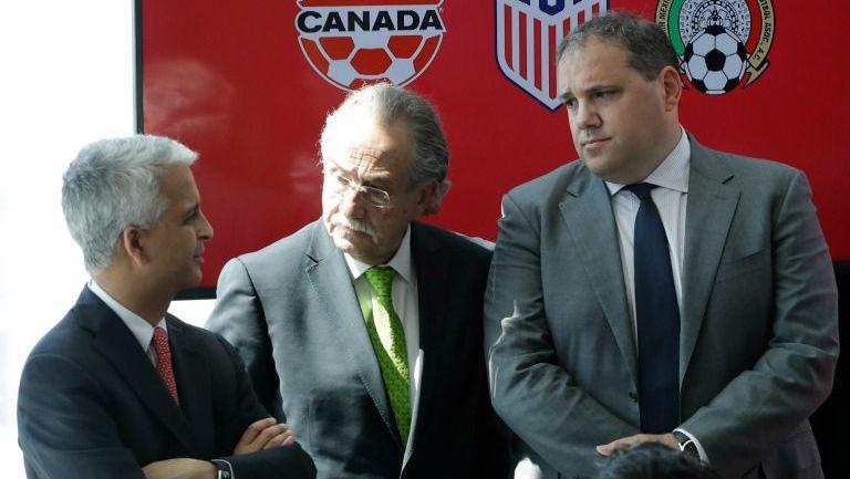 Gulati, De María y Montagliani durante el anuncio del Mundial 2026